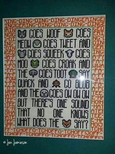 What Does the Fox Say cross stitch @stephsayitall Think Bubba would like this for his room?? It'll take me FOREVER