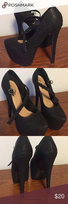 Never worn black mary jane super high heels Never worn black mary jane super high heels. Glaze Shoes Heels