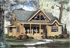 House Plan 61104 | Log Narrow Lot Plan with 1449 Sq. Ft., 2 Bedrooms, 3 Bathrooms at family home plans