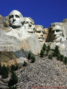 Mt. Rushmore, South Dakota. Heads of four past U.S. presidents carved into the Black Hills mountain.