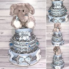Classic and Adorable! This Boys Blue Elephant Nappy Cake includes: Huggies Newborn Nappies Flannelette Wraps Newborn Socks Baby Blanket Avent Soothers Newborn Mittens Plush Elephant Toy