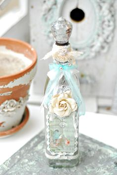 Shabby Chic White Rose Crystal Cottage Bottle