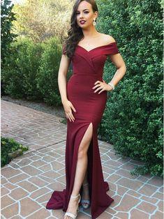 Mermaid Off-the-Shoulder Sweep Train Burgundy Prom Dress with Split