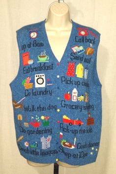 "Marisa Christina womens L blue funny novelty mom wife ""To Do List"" sweater vest #MarisaChristina #VestSleeveless"