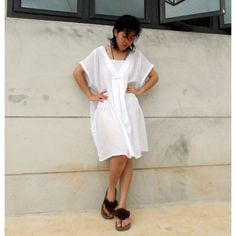 Boho  Chic  White Comfy Blouse   Dress  one fit all most by siam2u, $40.00
