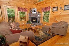 Naughty Pines is a  two story, one bedroom semi-secluded log cabin, which is just perfect for a romantic weekend getaway. Located just three minutes from the main Parkway in Pigeon Forge, this cabin is convenient to all of the main attractions, shopping and fine dining from Sevierville to Gatlinburg.