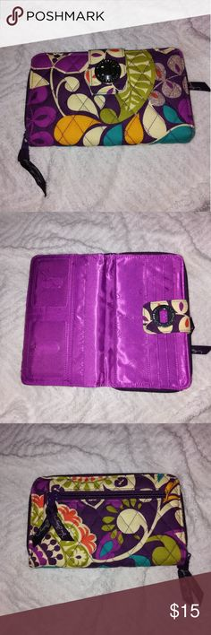 Vera Bradley Turnlock Wallet-Plum Crazy Excellent used condition Vera Bradley Turnlock Wallet in the color Plum Crazy. Vera Bradley Bags Wallets