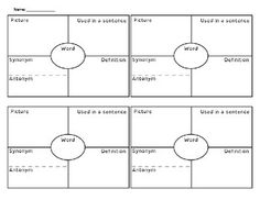 This is a vocabulary graphic organizer known as 4 Square. It is an effective way to learn and practice vocabulary in any subject area. This product contains 1 sheet with four squares on it. Each square is divided into fourths. The student writes the vocabulary word in the center of the square, and then writes the definition, a sentence that uses the word, a synonym/antonym, and a picture in the other squares.