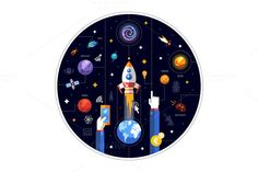 Space Flat Design Illustration by Decorwith.me Shop on Creative Market