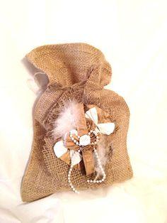 Burlap Gift Bag drawstring decorated paper rose and burlap bridal shower wedding gift packaging