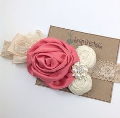 Vintage Inspired Headband Coral & Ivory Headband Rolled Silk Flowers Lace Headband Rhinestone Pearls Couture   Flower Photo Prop