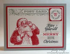 MARCH 30, 2014  Merry Monday #101 | Stamps:	Post Card, Santa's List (Retired), Merry Little Christmas (Reitred), Winter Post (Retired); Card stock & Papers:    	Smoky Slate, Real Red, Whisper White;  Ink:	Smoky Slate, Real Red; Accessories:	Basic Rhintestones; Tools:    	Postage Stamp punch, Corner Rounder punch, Stampamajig, Dimensionals. Basic Gray, Real Red and Smoky Slate Stampin' Write markers
