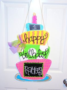 Birthday Cake with Chalkboard Paint Painted Doors, Wooden Doors, Wooden Signs, Birthday Door, Birthday Cake, Birthday Signs, Happy Birthday, Birthday Parties, Cute Crafts