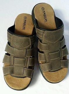 b4560a3d65f2 Magellan Westchester Men s Brown Leather Slip On Sandals Size 7D Mens Shoes  Boots