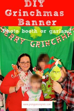 The DIY Grinchmas Banner is super cute and easy to make. It can be hung up like garland or to decorate a table. It can also be used as a backdrop for a photo-booth. Tulle Poms, Photo Booth Backdrop, Green Ribbon, Glue Crafts, Book Activities, Holiday Fun, A Table, More Fun, Penguins