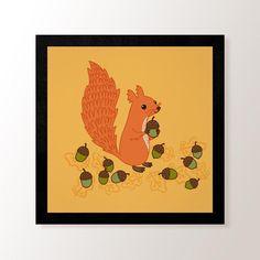 Squirrel & Acorns- Small Art Print