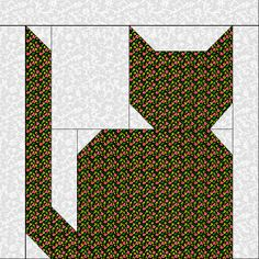 """Calico Cat @ Quiltaholics: A very good internet friend asked me to do a simple cat block...well, I tried. I'm sure my block looks like some block in a book somewhere, so I'll apologize to the author of that block now...I used no books...just my imagination. We will be making this one 10"""" finished. You will need 2 fabrics to make this block: a fun calico print (dig in your stash folks!) and a White-on-White for the background. Dog Quilts, Animal Quilts, Barn Quilts, Cat Quilt Patterns, Pattern Blocks, Easy Patterns, Quilting Tips, Quilting Tutorials, Lone Star Quilt"""