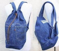 **the bag in the picture was sold, contact me to create a similar one for you! ask me which colors i have in stock**  a durable, large capacity denim backpack, washable and multipurpose- use it for a shopping day in town, as a beach bag, a gym bag, a school bag (a hardcover A4