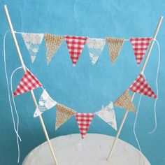 Cake banner picnic  Burlap gingham and lace by Hartranftdesign, $19.00
