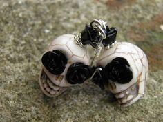 Day of the Dead Earrings Skull Jewelry Frida Kahlo Steampunk Sterling Silver Hooks Rockabilly Jewelry Halloween Earrings. $9.99, via Etsy.