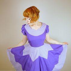 50s handmade GINGHAM scalloped purple dress by SartorialMatters, £38.00