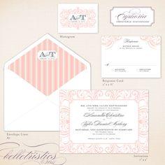 glamorous flourish printable wedding invitation design