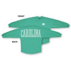 UNC Tar Heels Ladies' Long Sleeve Stripe Sweeper T (Seafoam Green) http://www.johnnytshirt.com/carolinastore/product.php?sku=90670&f=adv_search&q=90670 PRICE: $39.99