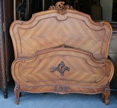 4c53a12839e6d French Antique Louis XV Walnut Full Size Bed  LouisXIIIXIVXVXVI