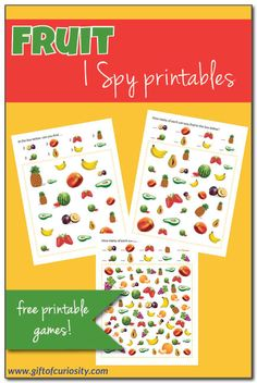 Free printable Fruit I Spy games for children with three levels of difficulty. How many fruits can your child name and find? #freeprintables #summer #ISpy #giftofcuriosity || Gift of Curiosity Preschool Food, Free Preschool, Preschool Lessons, Preschool Ideas, Creative Activities For Kids, Kids Learning Activities, Summer Activities For Kids, Teaching Kids, Free Worksheets For Kids