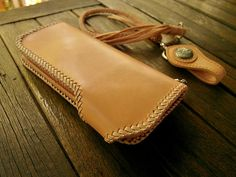 Natural Tanned Leather Long Wallet Hand Stitched от HardyLeather
