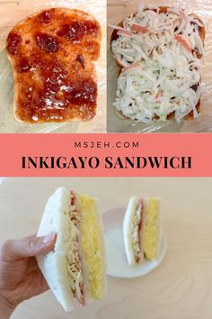 Trendy Korean sandwich made for popular idol pop stars. Three yummy layers of creamy potato salad, strawberry jam and crunchy cabbage salad slabbed in between slices of soft bread Korean Potato Salad, Creamy Potato Salad, Sandwich Recipes, Korean Sandwich Recipe, Korean Food Bibimbap, Korean Street Food, Cabbage Salad, Recipes From Heaven, Food Dishes