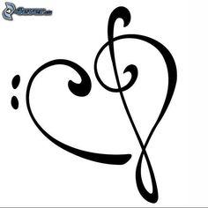 Cuore con chiave di violino e chiave di basso