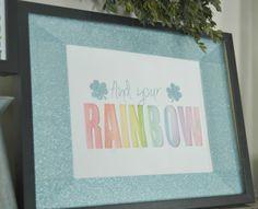 Find your Rainbow watercolor glitter Duck Tape art work