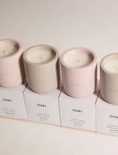 Beauty News:OUAI Releases New Scented Candles OUAI by Jen Atkin has just released their newest product: a range of scented candles. The beauty brand was made famous for its best-selling haircare and styling products created by celebrity hair stylist, Jen Atkin. OUAI has been since releasing all kinds of new beauty products including fragrances, body products, supplements and more. OUAI is now releasing scented candles to join the product line. OUAI is launching scented candles with 2 scents... Scented Candles, Candle Jars, New Product, Product Launch, Jen Atkin, Celebrity Hair Stylist, Beauty News, Beauty Industry, Body Products