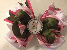 Stacked Botique Style Hair Bow Green Camo Pink Camo Browning Bottle Cap | eBay