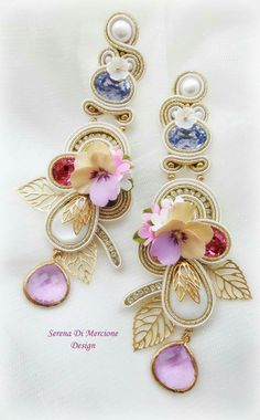 Pastel Romantic Pastel Beaded Earrings Green Mauve Beige Beaded Earrings Bead Embroidered Big Floral Earrings Women/'s Jewelry Beadwork