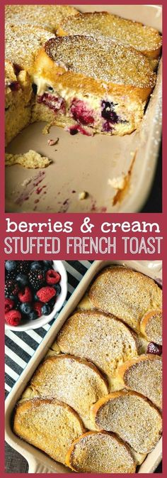 Berries & Cream Stuffed French Toast Casserole - CPA: Certified Pastry Aficionado Slices of French bread stuffed with fresh berries & cream cheese filling, covered in a custard mixture and baked until perfectly fluffy and slightly crispy on top. Breakfast Toast, Best Breakfast, Breakfast Recipes, Breakfast Healthy, Overnight Breakfast, Yummy Breakfast Ideas, Cream Cheese Breakfast, Vegetarian Breakfast, Vegan Vegetarian