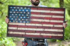 Wooden American flag reclaimed lumber home by ThePairOfSpades