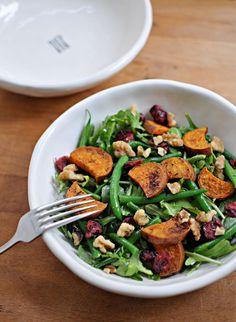 Sweet Potato & Green Bean Salad with Maple-Mustard Dressing