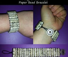 DIY Vintage Sheet Music Paper Bead Bracelet... This, but with comic books! :D Fun and simple craft to do in my spare time.