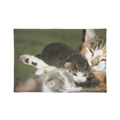 Kittens With Mommy Placemat!  Cuteness overload!  Lots of cat stuff and the store has a new look!  Check it out!  http://www.zazzle.com/conquestkitty*