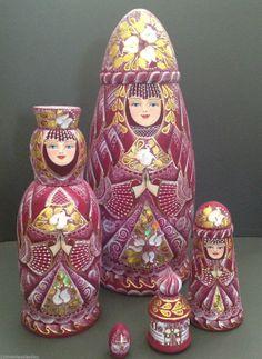 Russian PRINCESS Nesting DOLL Hand Carved Hand Painted Babushka Collectible | eBay