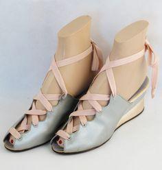 Vintage 1940s 40s Shoes Pink and Baby Blue Satin Wedge Heel Laceup Peeptoe Boudoir Slippers