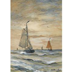 Hendrik Willem Mesdag  DUTCH  BOMSCHUITEN AT SEA