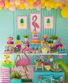 Colors and inspiration for a flamingo themed party.Festa do flamingo By Fotos porWrap boxes and put READ on them Aloha Party, Luau Party, Pink Flamingo Party, Flamingo Birthday, 13th Birthday Parties, Luau Birthday, Birthday Decorations, First Birthdays, Party Themes