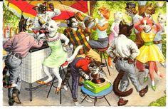 Cartão Postal Alfred Mainzer Original ~ Gatos bebendo na festa de fora, Records # 4973 in Colecionáveis, Cartões postais, Animais | eBay