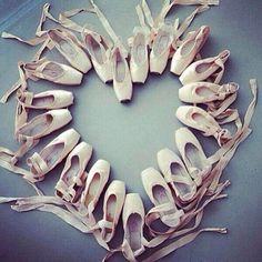 Heart shape made from Ballet Slippers art