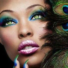 Nail art and make-up green, blue, fall and winter