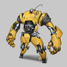Instagram media by einikis_art - Yellow bot #robot #mech #mecha #mechanical #scifi #engine #yellow #conceptart #machine
