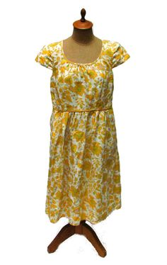 Boden Ladies Dress Yellow White Mod Print Floral Cotton Sheath 6L US 10L UK #Boden #Sheath #Casual